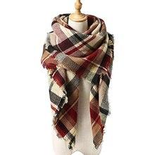 Женский зимний шарф, классический клетчатый шарф, женские теплые мягкие кашемировые шарфы, массивное большое одеяло, шаль, треугольные шарфы