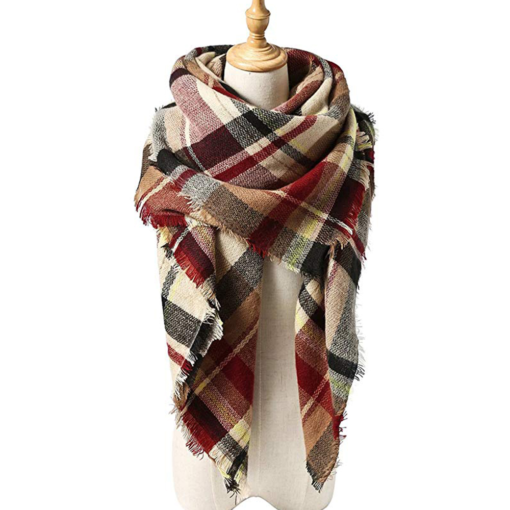 New Women's Winter Scarf Classic Plaid Scarf Female Warm Soft Cashmere Scarves Chunky Large Blanket Wrap Shawl Triangle Scarves