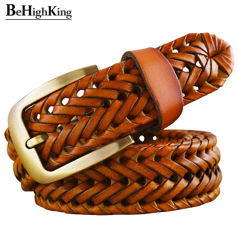 Genuine Leather Braided Belt Man Fashion Men Belts Luxury Waist Strap Male Quality Second Layer Cow Skin Girdle For Jeans Brown
