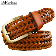 Genuine leather braided belt man Fashion men belts luxury waist strap male Quality second layer cow skin girdle for jeans Brown fashionable men s head layer cowhide cow split leather waist belt brown