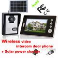 Wireless 7inch photo-memory video intercom door phone system with remote control Solar power charger