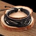 100% tecidos à mão pulseiras bijuterias envoltório multilayer couro trançado corda homens pulseira pulseiras para mulheres