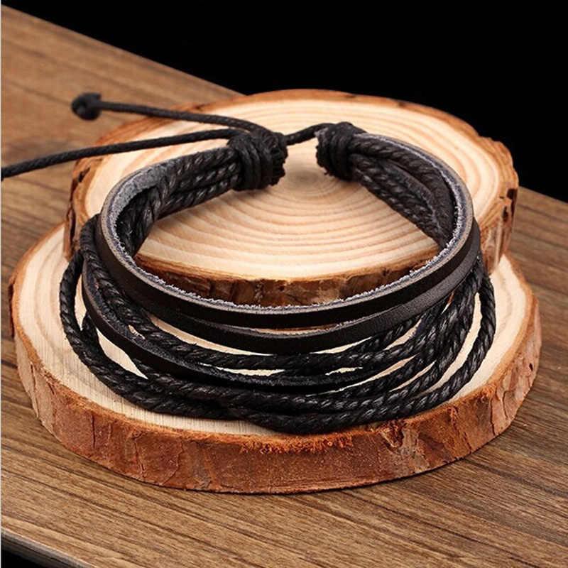 100% باليد الأساور المنسوجة مجوهرات الأزياء التفاف متعدد الطبقات جلدية حبل مضفر معصمه الرجال أساور للنساء
