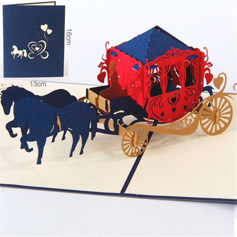 Handmade 3D Pop Up Carriage Birthday Cards Creative Greeting Wedding Invitation card Wishes Gifts creative gifts 3d pop up card greeting