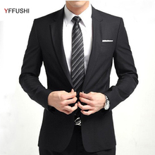 YFFUSHI 2017 New Men Suit Black Wedding Suits for Men Casual Tuxedo Latest Coat Pant Designs Slim Fit Business Formal Clothing