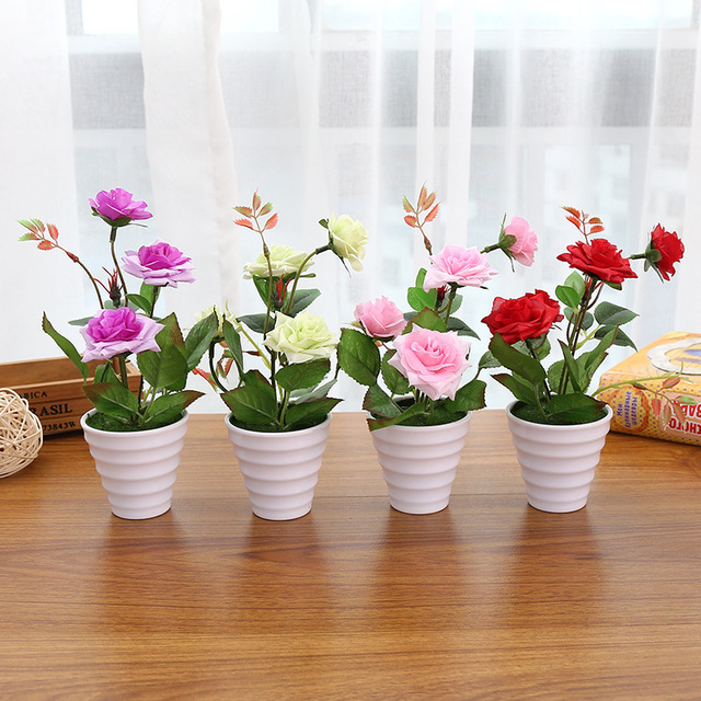 Mini artificial rose silk flower fake leaves plastic flower pots mini artificial rose silk flower fake leaves plastic flower pots vase moss grass filling decoration potted mightylinksfo