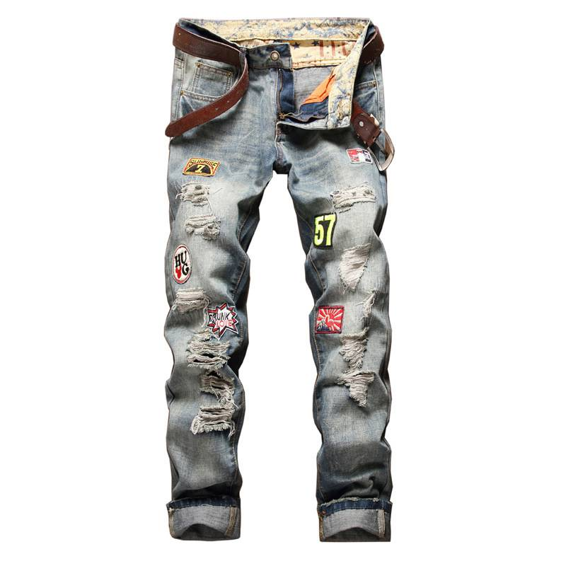 #1522 Straight Patches Mens designer clothes Skinny Fashion Ripped jeans for men Vintage Distressed jeans Pantalones hombre