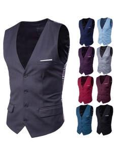 Vests Male Suit Single-Buttons Solid-Color Men's Casual Business Slim Fit Fashion