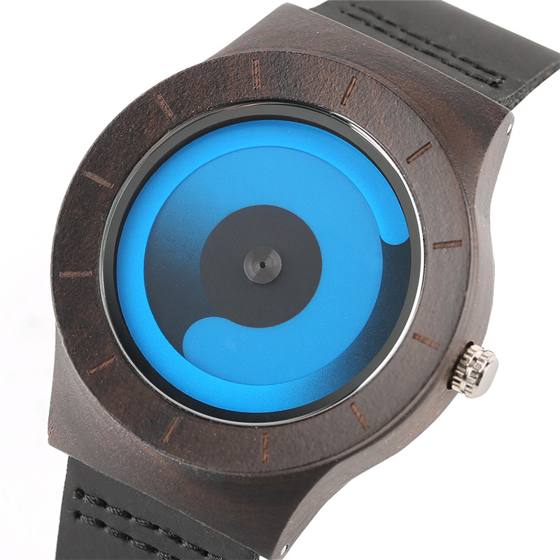 Casual Men Women Wooden Watch Novel Vortex Non-pointer Sport Bamboo Wristwatch Geek Concept Young People Wood Clock Cool Gifts (3)