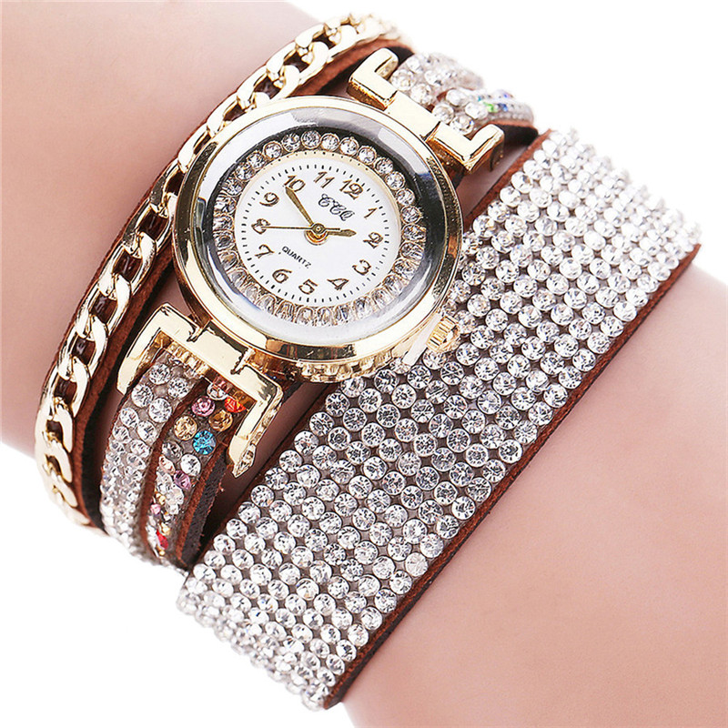 Luxury Brand Bracelet Watches Women Crystal Wrap Winding Quartz Wristwatch PU Leather Ladies Casual Watch Relogio Feminino ccq luxury brand vintage leather bracelet watch women ladies dress wristwatch casual quartz watch relogio feminino gift 1821