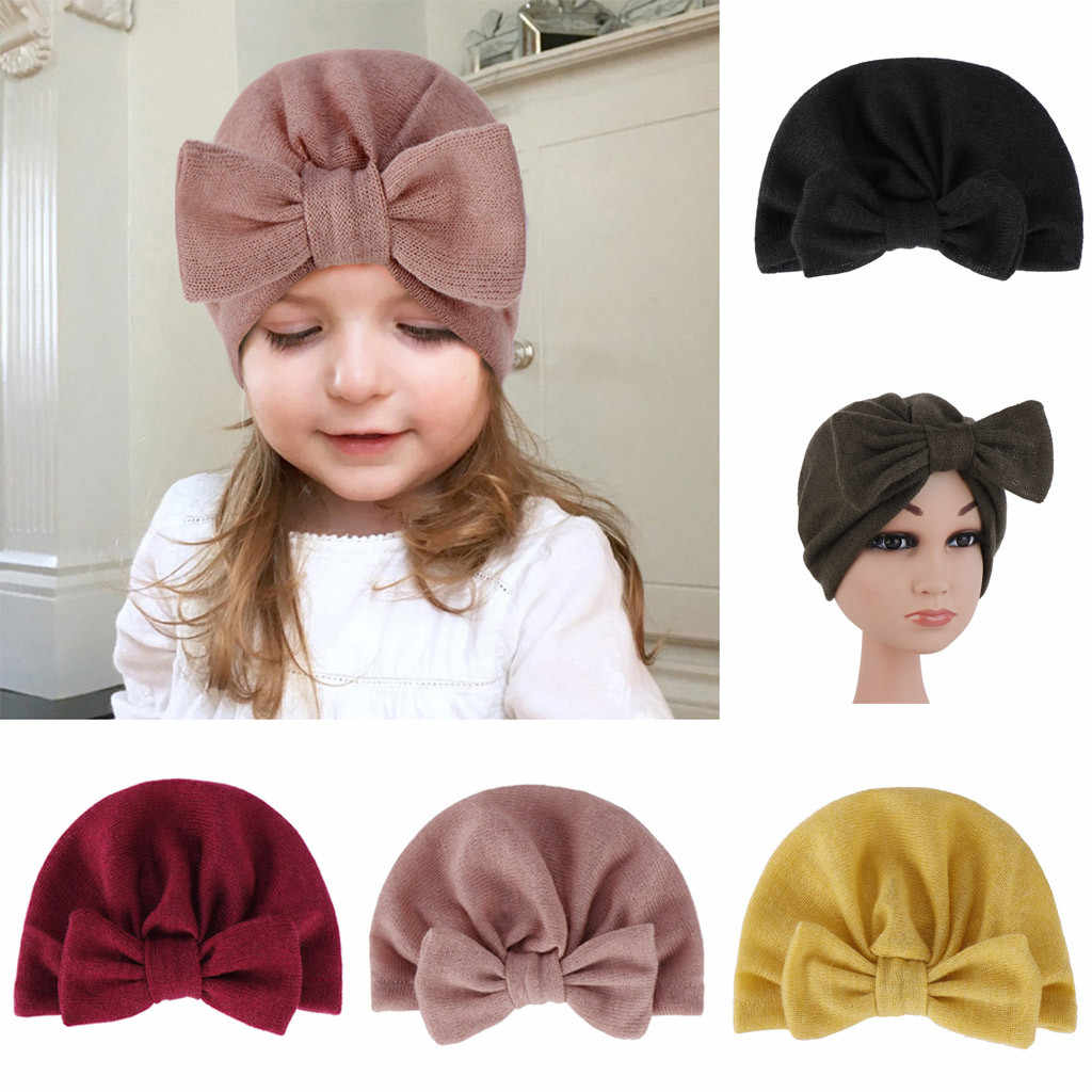 2019 Arab Unisex Fashion newborn cotton baby soft hats for baby girls Toddler Cute Boys Bow Knot Hemming Beanie Arabic Hat Cap