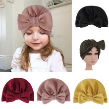 2019 Arab Unisex Fashion newborn cotton baby soft hats for baby girls Toddler Cute Boys Bow Knot Hemming Beanie Arabic Hat Cap(China)