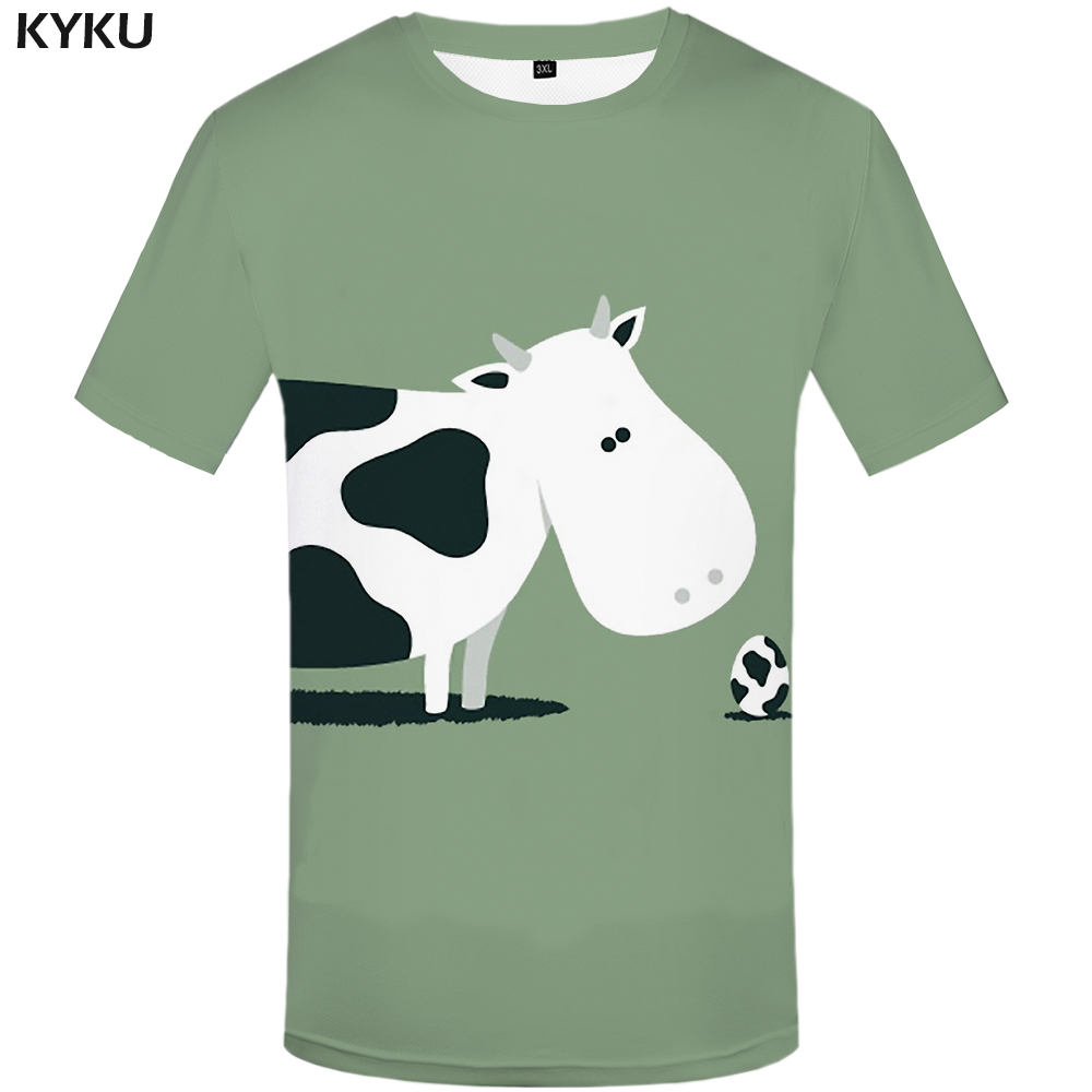 KYKU <font><b>Cow</b></font> <font><b>T</b></font> <font><b>Shirt</b></font> Men White Animal <font><b>T</b></font>-<font><b>shirt</b></font> Ball Grass 3d Printed Tshirt Hip Hop Tee Cool Casual Mens Clothing Summer Streetwear image