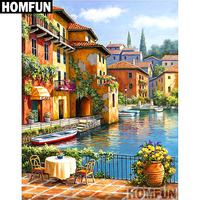"HOMFUN Full Square/Round Drill 5D DIY Diamond Painting ""Town scenery"" Embroidery Cross Stitch 5D Home Decor Gift A06743"