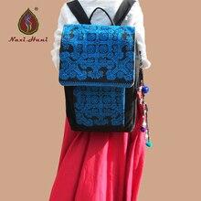 Новый бренд Мужской вышитые холст рюкзаки Этническая ручной крышка временно путешествия рюкзаки Старинные синий экзотические сумки