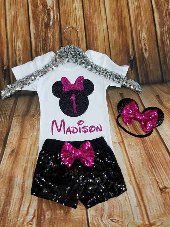 ad2cbb84c personalize glitter Minnie Mouse 1st Birthday Bodysuit & shorts onepiece  Tutu toodles Outfit Set baby shower