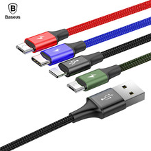 BASEUS 3.5A 1.2m 4 in 1 Fast Charging USB Cable for iphone x 8 7 6 Micro USB Type C Cable for Samsung Galaxy S9 S8 Charger Cable