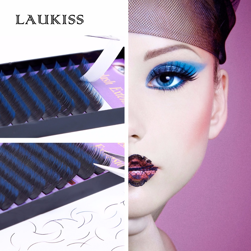 Makeup Colored Cilia Blue & Black C Curl Natural False Eyelashes Individual Eyelash Extension Color LAUKISS Salon Daily Use брюки женские asics tailored pant цвет черный 2032a293 001 размер xxl 54 56