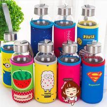 1PC 300ml Fashion Creative Cartoon cloth glass Glasses Water Bottle Po