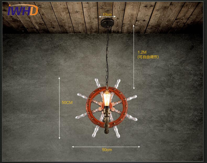 Iwhd led pendant lights loft wooden rudder industrial vintage