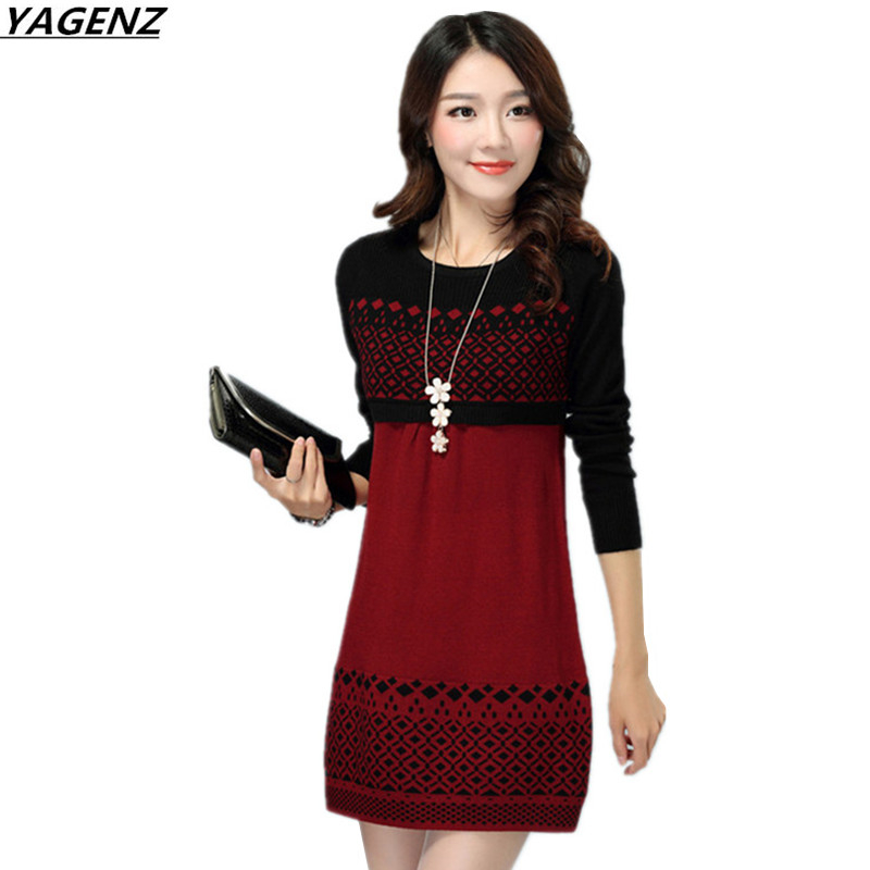 Autumn Winter Dress New Knit Pullover Sweater Ladies Sexy Short Dress Loose Plus Size Bottom Sweater Female Knitwear YAGENZ K625