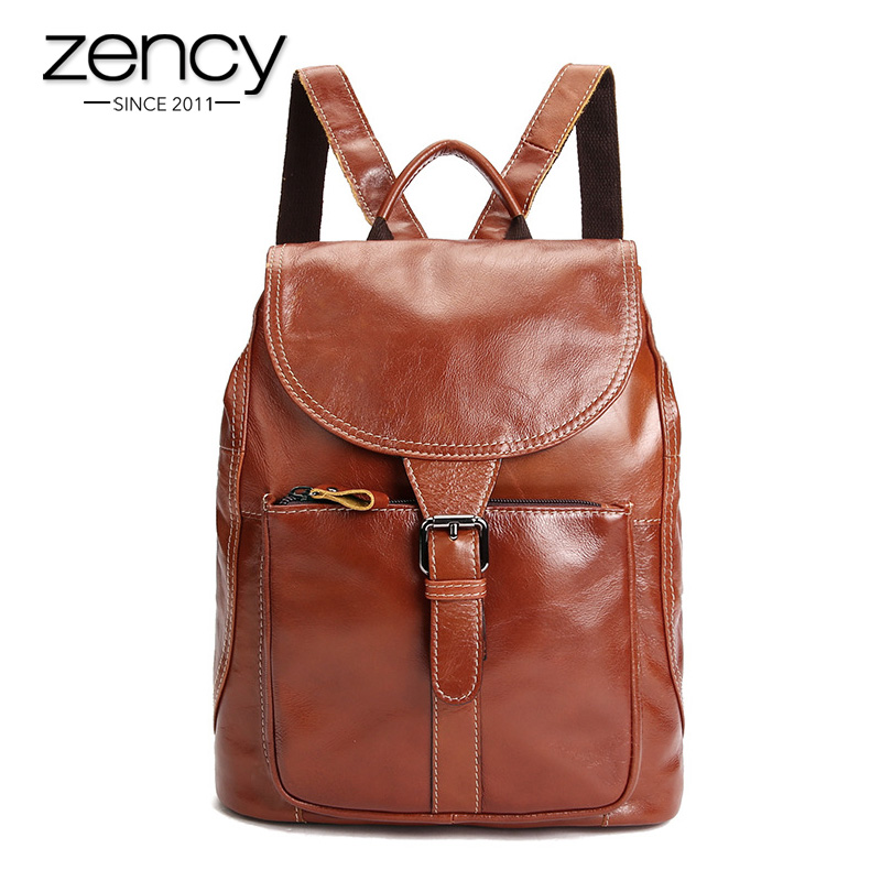 ФОТО Vintage Old Fashion Brand Genuine Leather Backpack for Women Retro Ladies Pocket Bag Rucksack Knapsack Girl Schoolbag Capacity