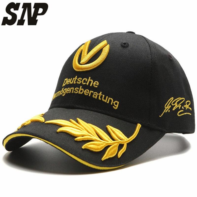 snapback black baseball cap men women hats formula 1 caps Michael Schumacher Cap Racing  Mens Hat Wheat Embroidery цена 2016