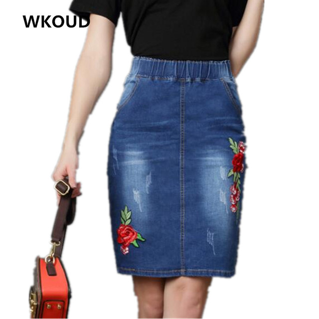 5f15a0675679 WKOUD 2018 Embroidery Denim Skirt Women Fashion High Waist Floral Skirts  Casual Jeans New Jag Knee-Length Skirt Shorts P8236
