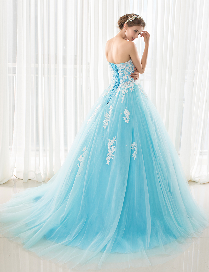 iLoveWedding Blue Wedding Dresses with Royal Train Off the Shoulder ...
