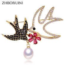 ZHBORUINI 2019 New Natural Freshwater Pearl Brooch Creative Animal Gold Swallow Pins Jewelry For Women Accessories