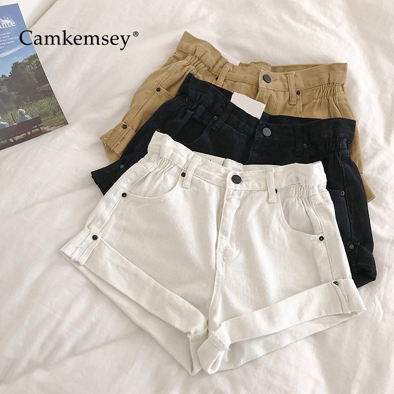 CamKemsey Fashion Cuffed High Waist Denim   Shorts   Women 2019 New Summer Style Classic Hemming Casual White Jeans Hot   Shorts