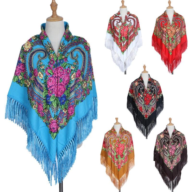 2018 Fashion Desiguers Russian Ethnic Women Scarf Square Winter Autumn Shawls and Wrap Print Bandanna Blanket Scarfs fashionable