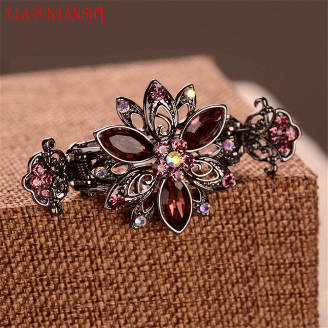 2019 Newest Alloy Hairpins Crab Claw Clip With Luxury Crystal Flower  Vintage Hair Clip Women Wedding Head band Hair Accessories 7a84a1245d80