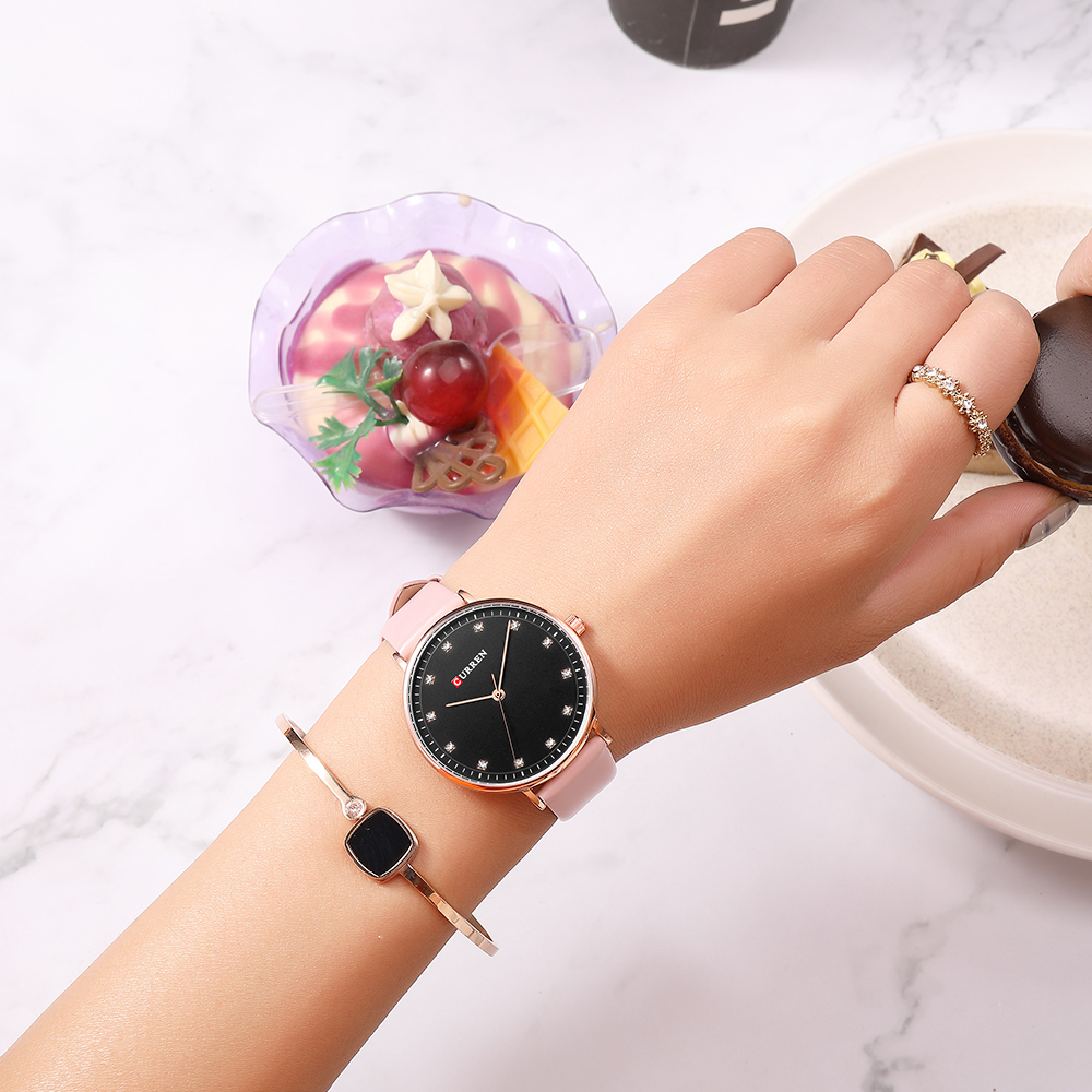 CURREN Fashion Womens Simple Diamond Elegant Ladies Wrist Watch  3