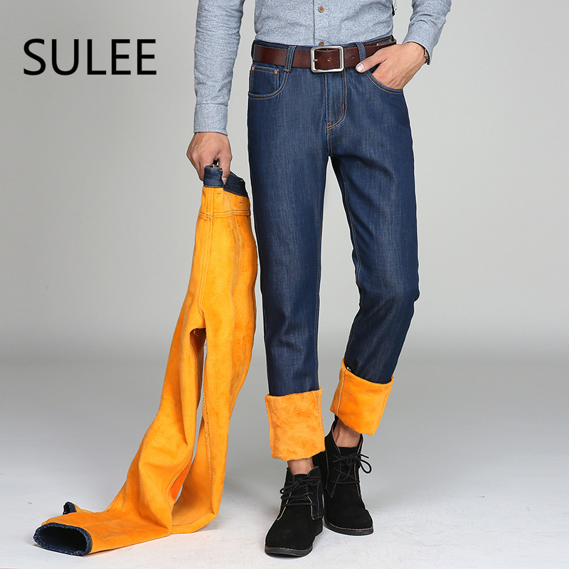 SULEE Brand 2017 Winter Men's Warm Casual Middle Jeans Straight Denim Male Pants Heavyweight with Velvet Long Trousers
