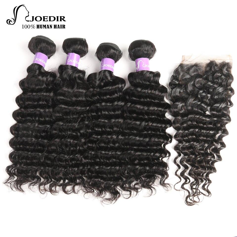 Joedir Deep Wave With Closure Non Remy Grade Brazilian Human Hair Extension 4 Bundles With 4x4 Lace Closure Natural Color