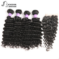 Joedir Deep Wave With Closure Non Remy Grade Brazilian Human Hair Extension 4 Bundles With 4x4 Lace Closure Natural Color