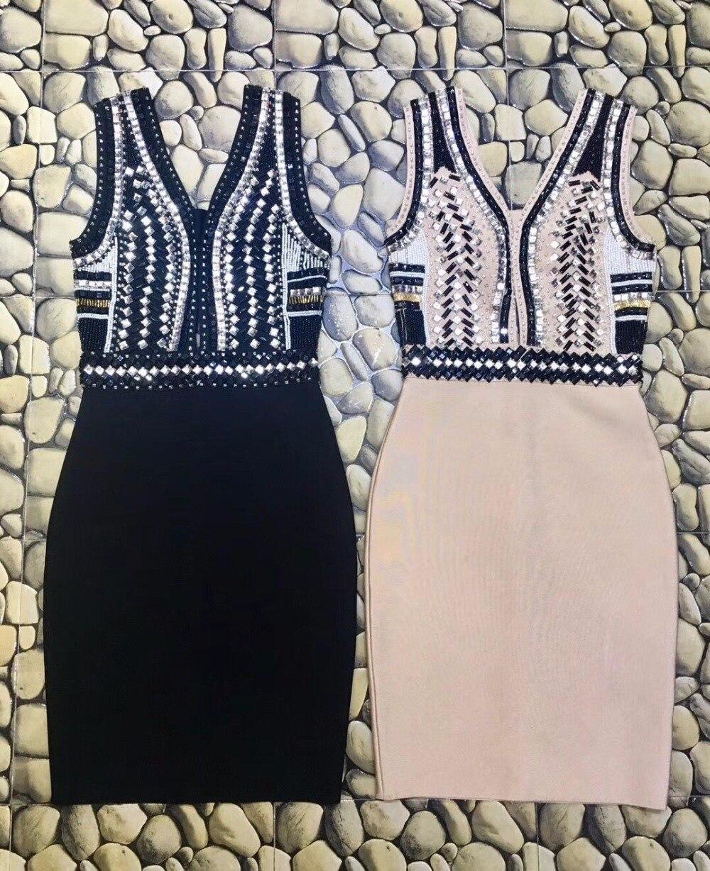 Célébrité Qualité Sans Bandage Femmes Manches Beige Bonne Nouveau Perles De Moulante 2018 En Gros Robe Soirée Cou Noir V aqBwIPd8P