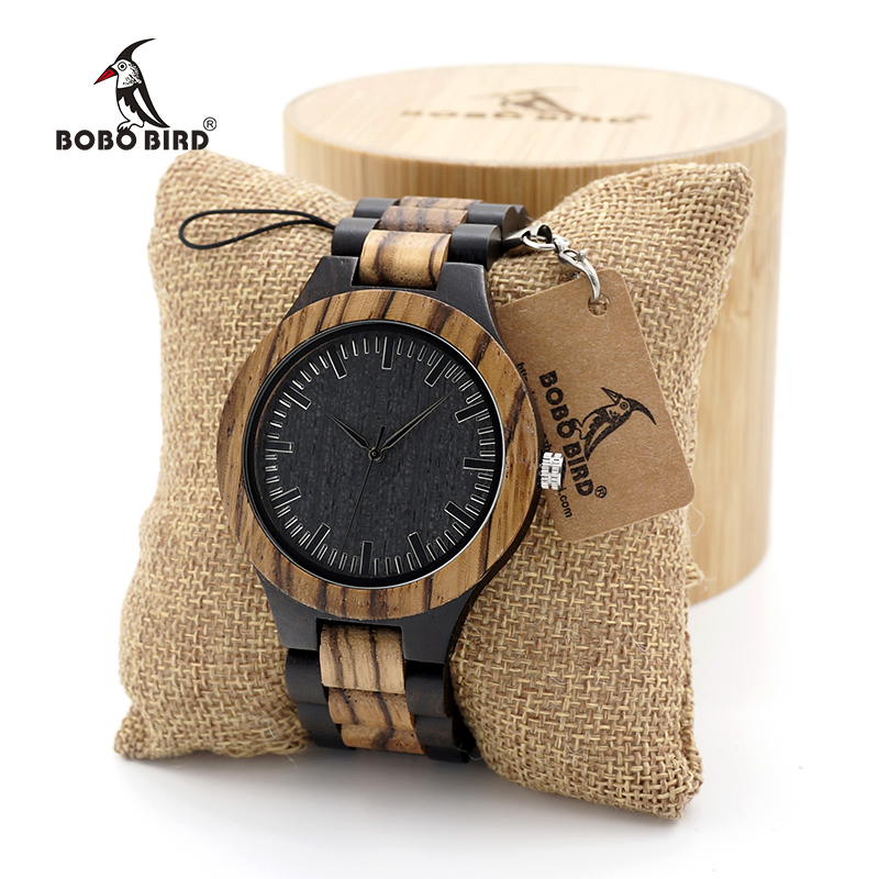 BOBO BIRD Men's Walnut and Ebony Wooden Watch with All Wood Strap Quartz Analog watch with Quality Miyota Movement clock gifts bobo bird metal case with wooden fold strap quartz watches for men or women gifts watch send with wood box custom logo clock