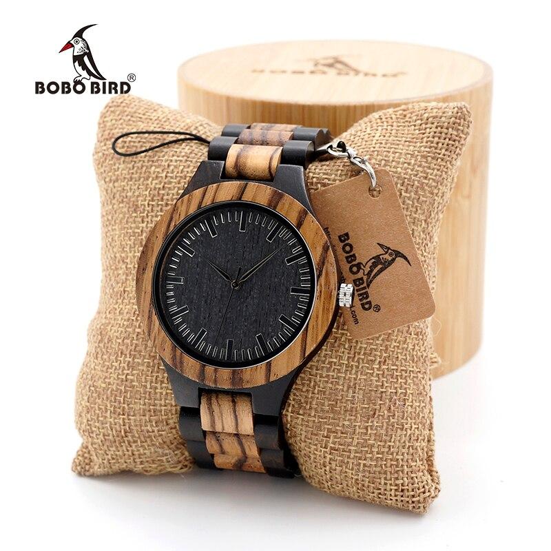 BOBO VOGEL Holz Uhr männer Nussbaum Ebenholz Holz Band Quarz Analog Armbanduhr Männlichen erkek kol saati Miyota geschenk