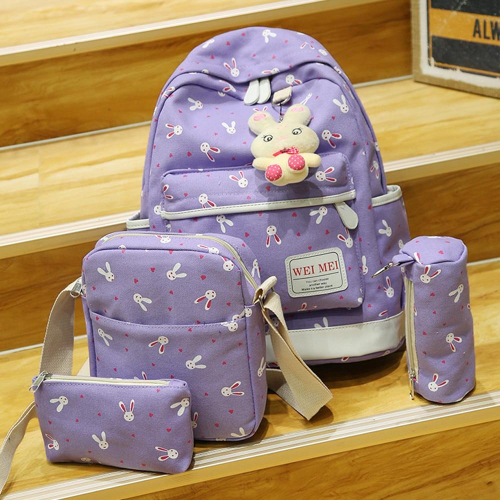4 Sets Women Girl Cute Rabbit Animals Travel Backpack School Bag Shoulder Bag High Quality Backpack