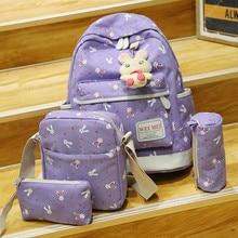 4 Наборы для ухода за кожей Для женщин девушка милый кролик Животные школьная сумка-рюкзак сумка высокое качество рюкзак Mochila Перевозка груза падения