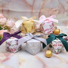 20 Pcs/lot New Diamond Shaped Paper Box Wedding Favor Sweet Candy Baby Shower Birthday Party Gift Event Supplies