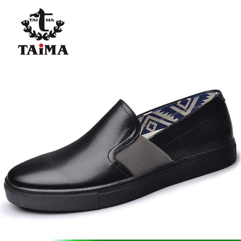 New Men's Fashion Casual Shoes High Quality Genuine Leather Comfortable Loafers For Men Flats Shoes Brand TAIMA 40-45 new arrival high genuine leather comfortable casual shoes men cow suede loafers shoes soft breathable men flats driving shoes