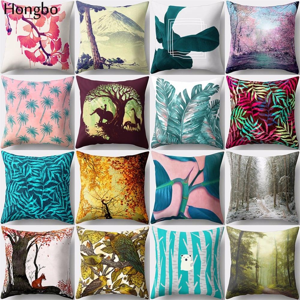 Hongbo 1 Pcs Tropical Rain Forest Coconut Pillow Cover Cushion Case Home Decor For Car Sofa Chair Seat