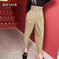 ELF SACK Autumn New Woman Pants Casual Plaid Mid Waist Women Ankle Length Pants Slim Streetwear Woman Bottoms Femme Pants