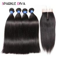 4 Bundles Straight Hair With Closure Peruvian Human Hair Bundles With Closure Natural Color Sparkle Diva