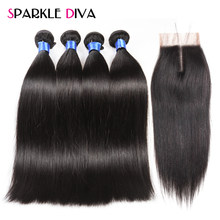 4 Bundles Straight Hair With Closure Peruvian Human Hair With Closure Natural Color Non-Remy Human Hair Weave With Closure(China)