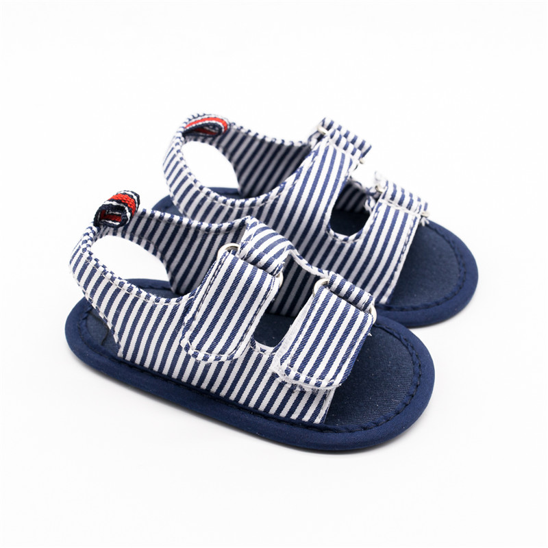 Baby Summer Shoes Toddlers Navy Blue Striped Sandals Walker Two Buckles Shoes for Baby Boy Toddler Moccasins Kids Slippers 0-18M