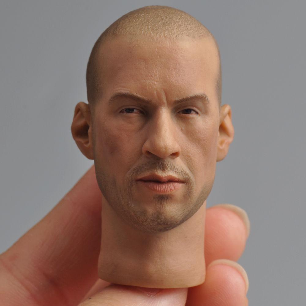 "Fast and Furious 8 Van Diesel Male Head Sculpts 1/6 Scale Mini Lifelike Man HeadFor 12"" Action Figure Body Accessory"